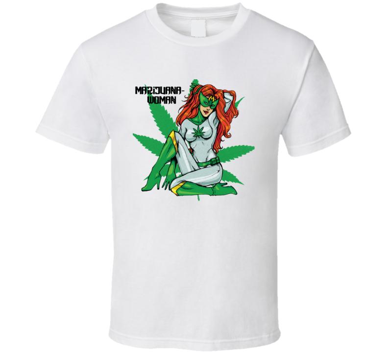 Marijuana Woman Superhero Comic Hot Stoner Weed Leaf Legalize T Shirt