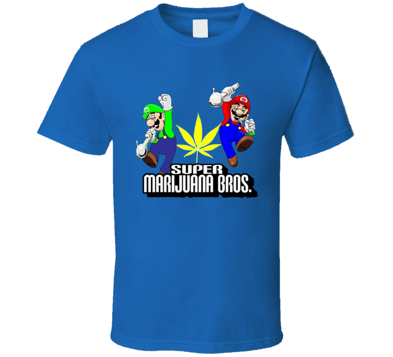 Super Marijuana Bros Weed Leaf Bong Stoner Mario Brothers Parody T Shirt