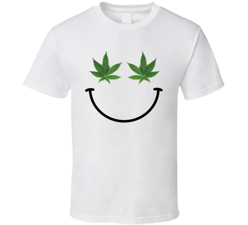 Weed Leaf Happy Face Marijuana Pot Smile Funny Trendy T Shirt