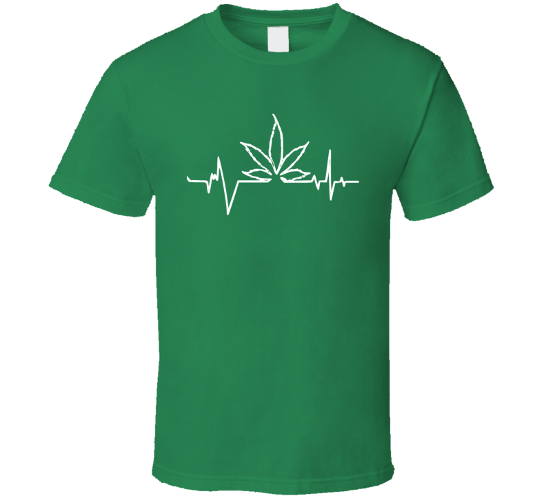 Heart Beat Rate Weed Marijuana Leaf ECG Monitor Line T Shirt