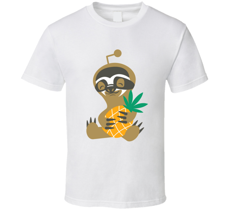 Stoner Sloth Holding Pineapple Express Funny Cut Weed Marijuana T Shirt