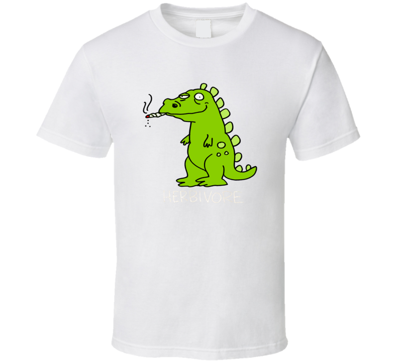 Herbivore Dinosaur Marijuana Stoner Weed High 420 Joint Pot Head T Shirt