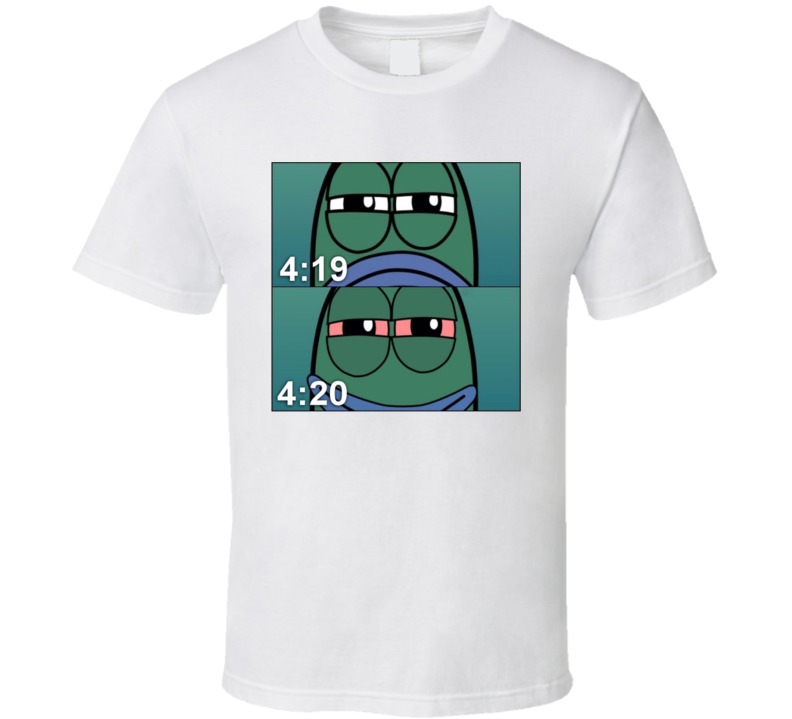 Funny Spongebob 419 420 Fish Stoner Weed High  Joint Pot Head T Shirt