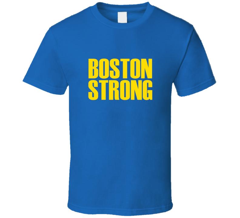 Boston Strong Runners Marathon Tribute Blue Yellow T Shirt