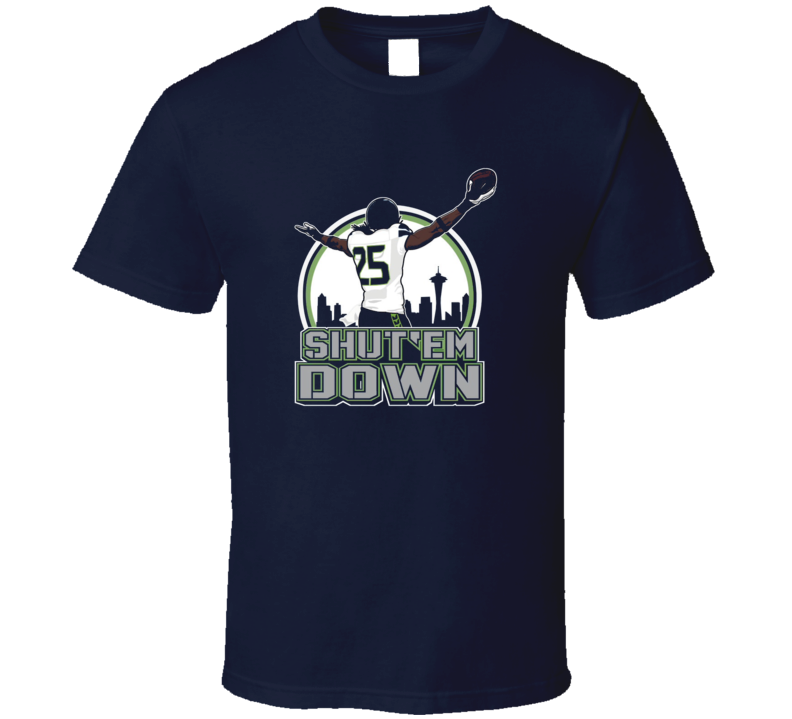 Richard Sherman Shut Em Down Seattle Cornerback Defense Seahawks Football T Shirt