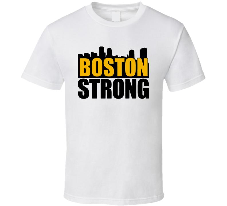 Boston Strong Marathon Tragedy Skyline Bruin Colours T Shirt