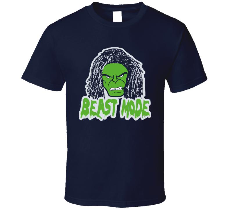 Marshawn Lynch Seattle Beast Mode Super Bowl Face Navy Green Football T Shirt