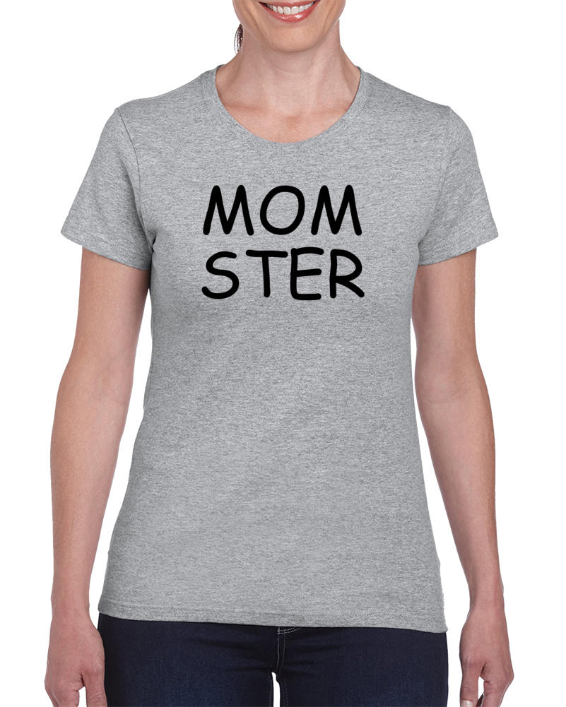 Momster Halloween Mom Mother Funny Costume Ladies Gray T Shirt
