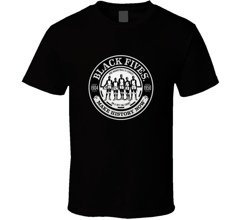 Negro Basketball League Black Fives Team Logo T Shirt