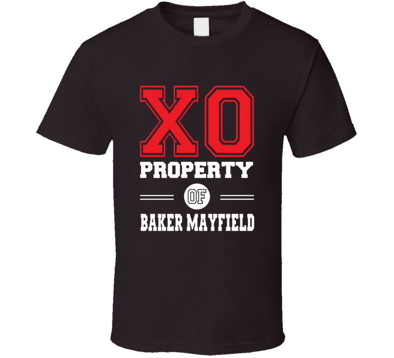 Property Of Baker Mayfield Qb X0 Cleveland Dark Brown Football T Shirt