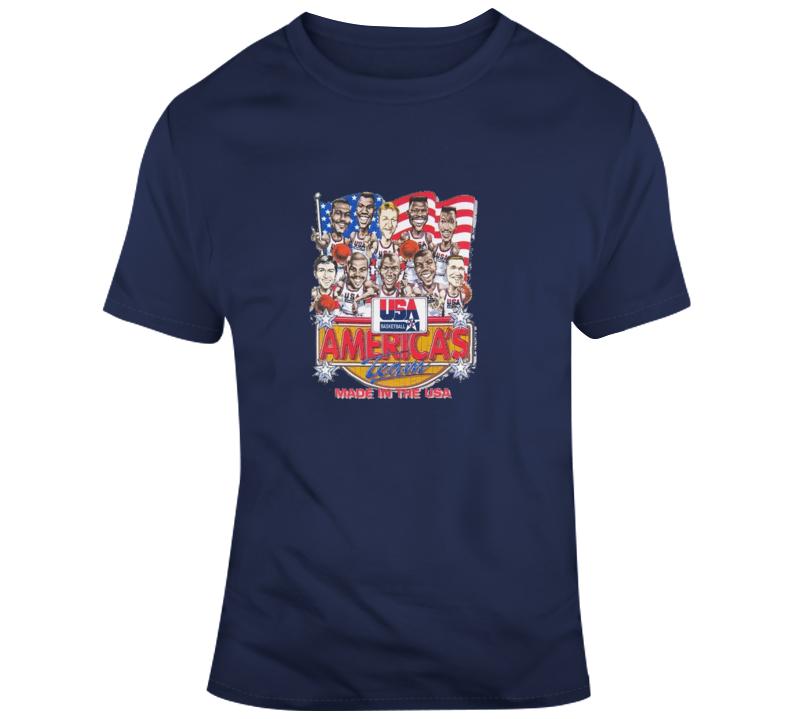 Usa 1992 Dream Team Retro Basketball Caricature T Shirt
