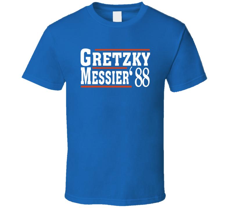 Wayne Gretzky Mark Messier 1988 Election Style Favorite Players Edmonton Hockey Fan T Shirt