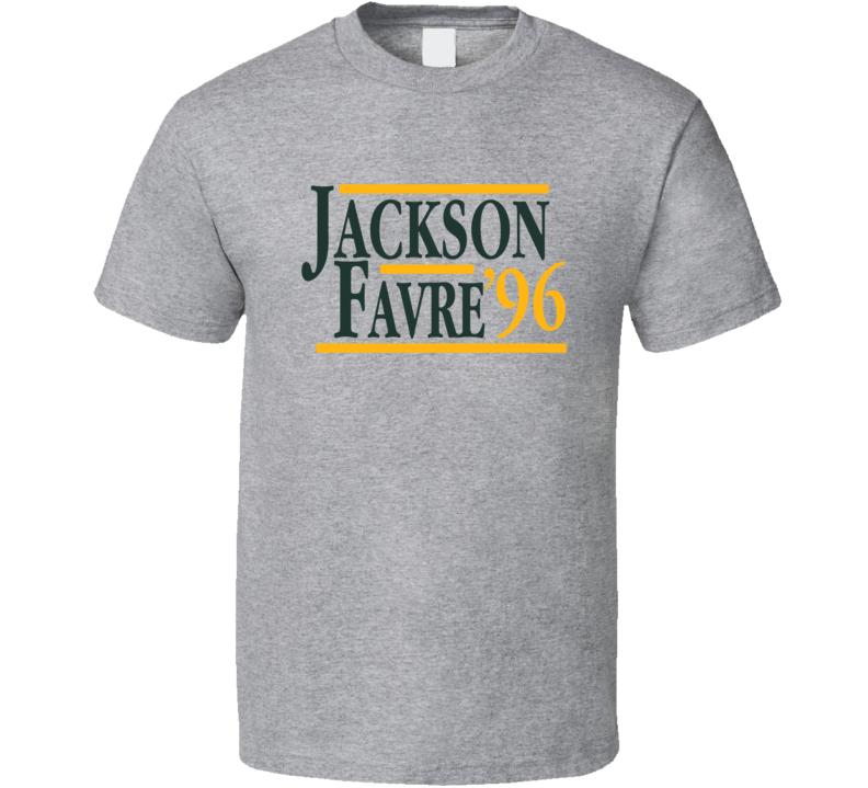 Brett Favre Keith Jackson 1996 Election Style Green Bay Football Fan T Shirt
