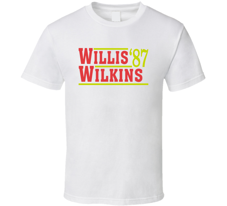 Dominique Wilkins And Kevin Willis Atlanta 1987 Campaign Basketball T Shirt