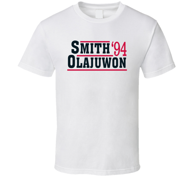 Hakeem Olajuwan Kenny Smith 1994 Houston Campaign Basketball T Shirt