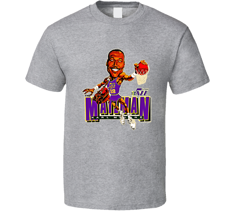 Karl Malone Utah Basketball Vintage Retro Caricature T Shirt