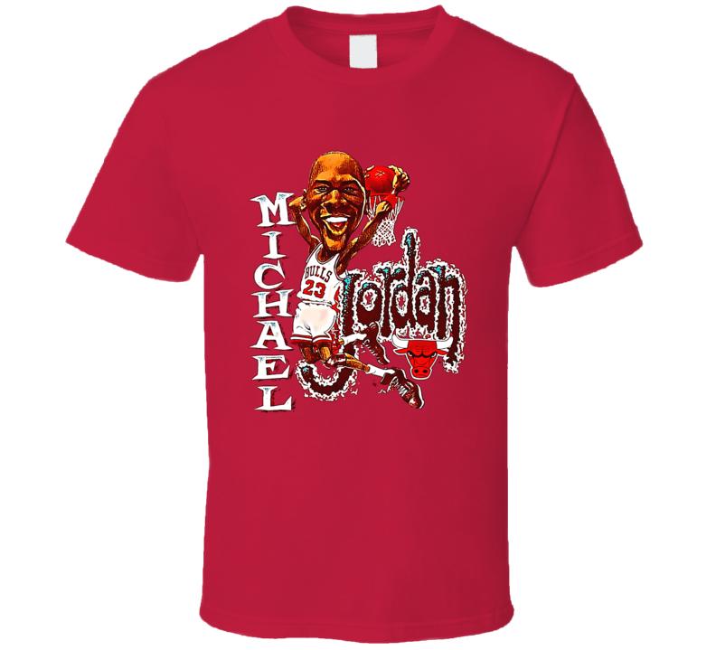 Michael Jordan Chicago Retro Vintage Caricature Basketball Fan T Shirt