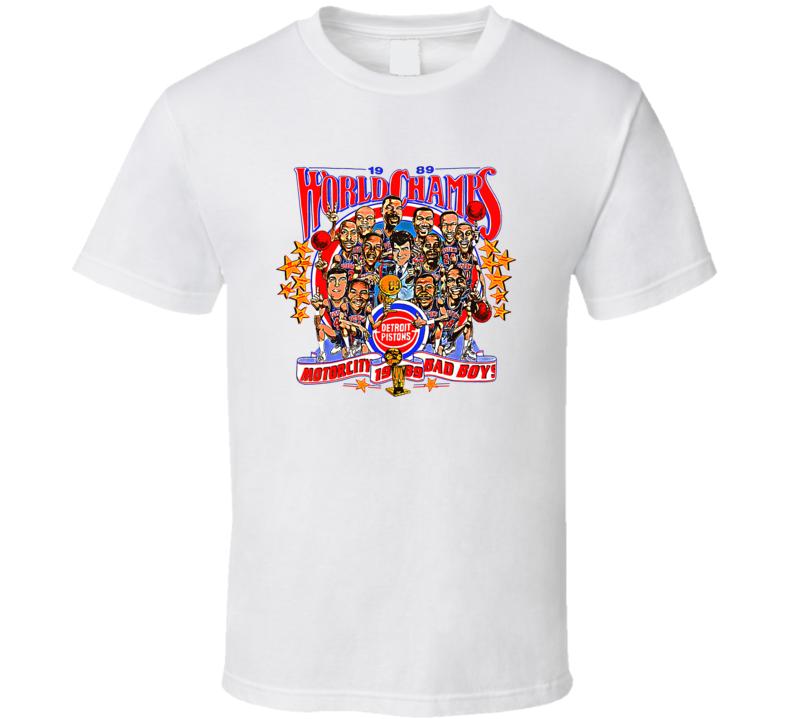 1989 Detroit Champs Bad Boys Retro Basketball Caricature T Shirt