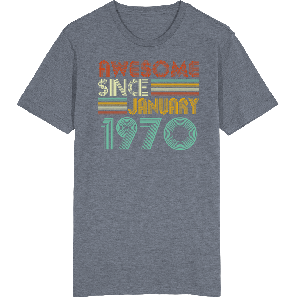 Vintage Retro January 1970 Birthday T Shirt