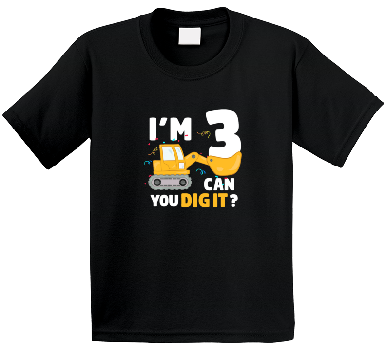 3 Year Old Construction Bulldozer Birthday T Shirt