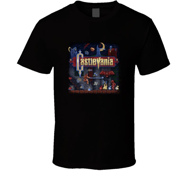 Castlevania Nes Retrovintage Vidreo Game T Shirt