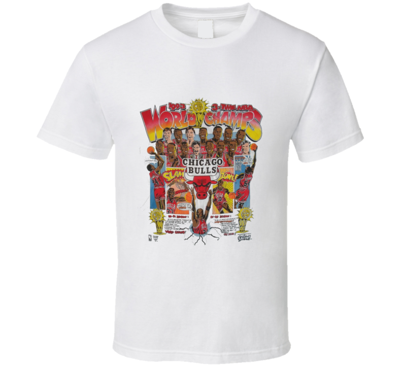Chicago Caricature 3 Time Champs Basketball T Shirt
