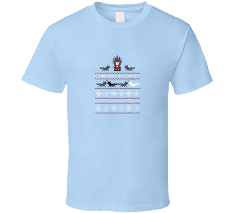 Ugly Christmas Sweater Santana Snowflake Light Blue Topaz Shirt