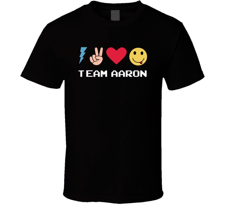 Team Aaron Custom Name Trending Gwen Emoji Heart T Shirt