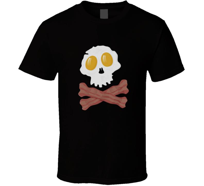 New Eggs and Bacon Skull Egg breakfast Funny Humor T Shirt