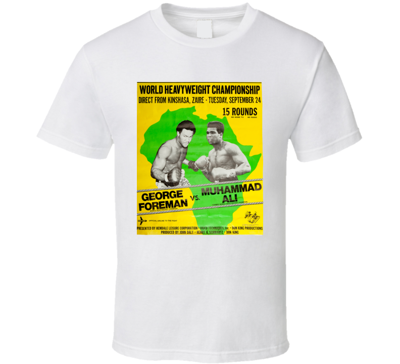 New Vintage Rumble In The Jungle Ali Foreman Boxing Poster T Shirt