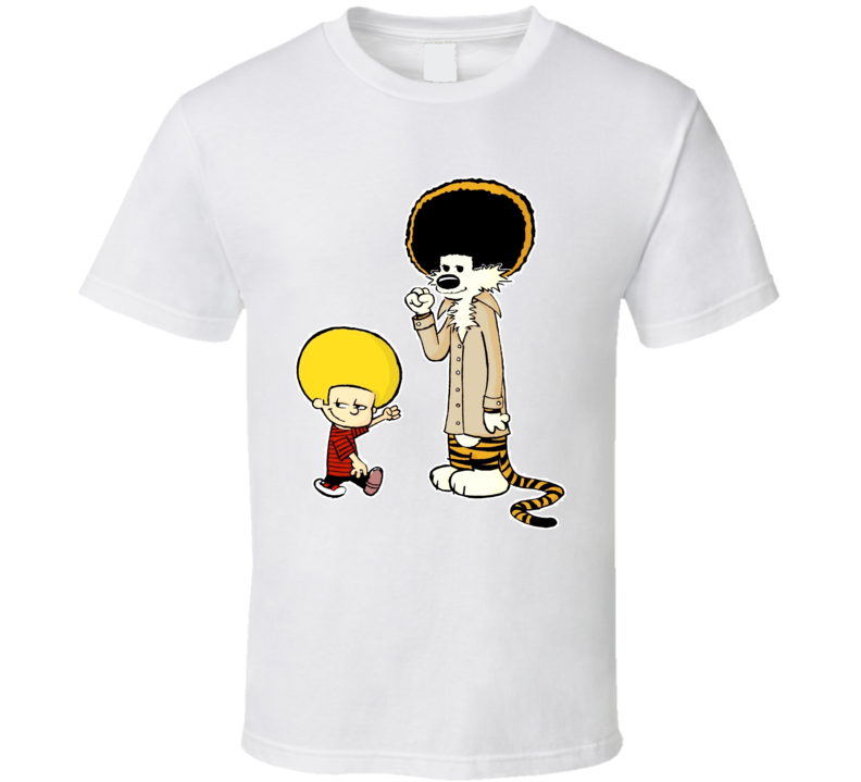 New Afro Calvin And Hobbes T Shirt