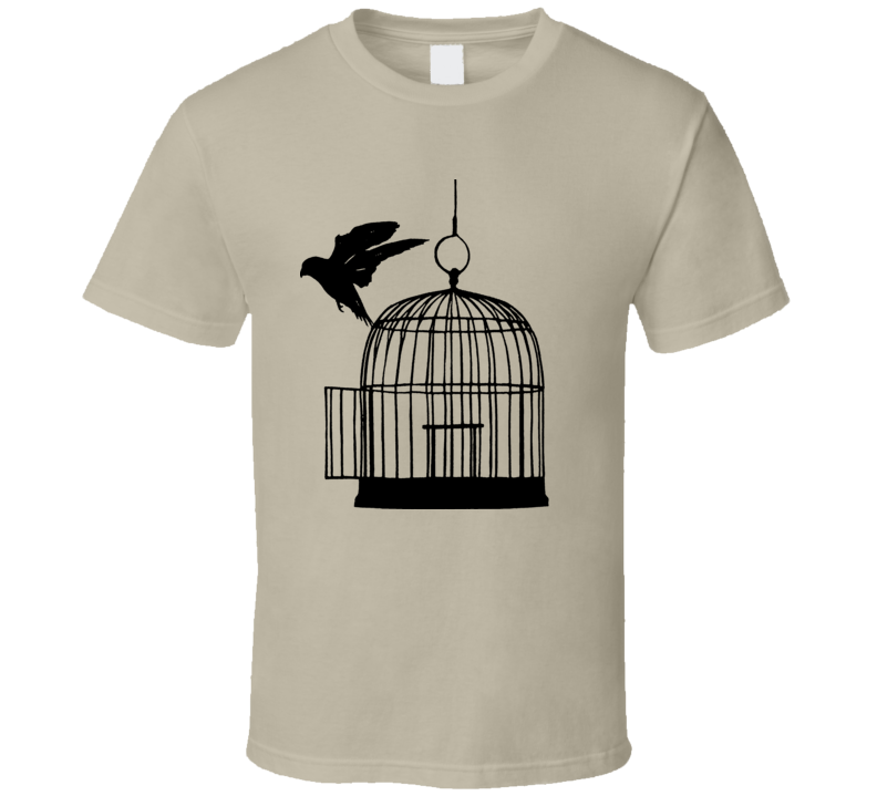 Freedom Black Bird In A Cage T Shirt