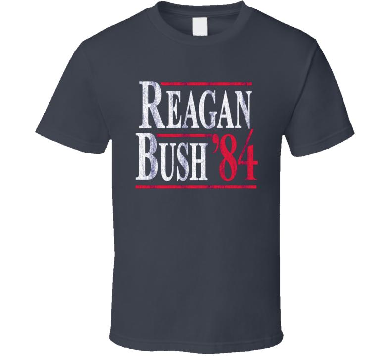 Reagan Bush 1984 Political Campaign Retro T Shirt