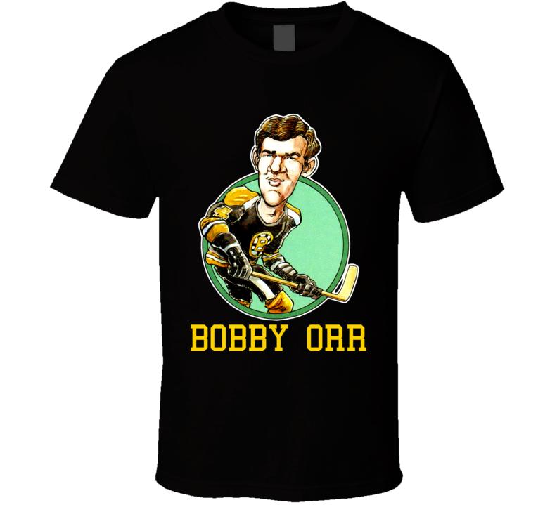 Bobby Orr Boston Hockey Retro Caricature T Shirt
