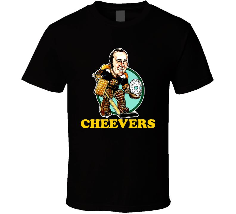 Gerry Cheevers Boston Hockey Goalie Retro Caricature T Shirt