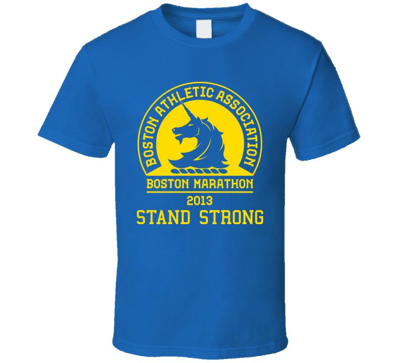 Boston Stand Strong Marathon 2013 Blue Runners T Shirt