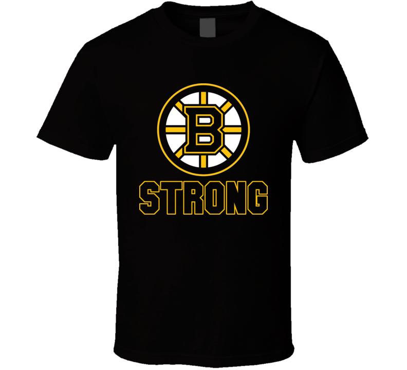 Boston  B Strong Marathon Tribute Hockey Bruins Logo T Shirt