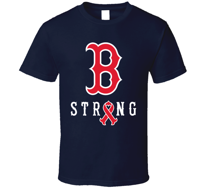 Boston Strong B Tribute Ribbon Red Marathon Sox T Shirt