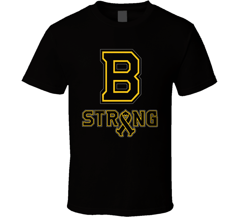 Boston B Strong Marathon Tribute Charity Ribbon Bruins Hockey T Shirt