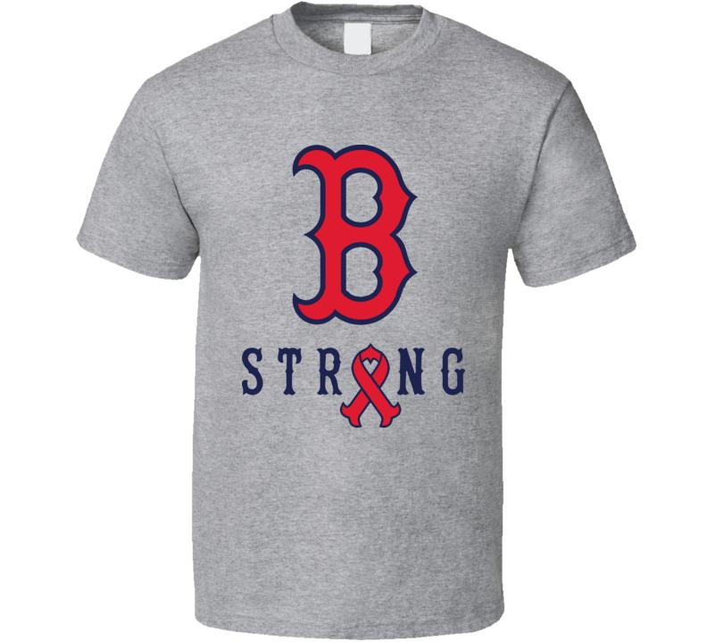 Boston B Strong Marathon Tribute Red Baseball Sox T Shirt