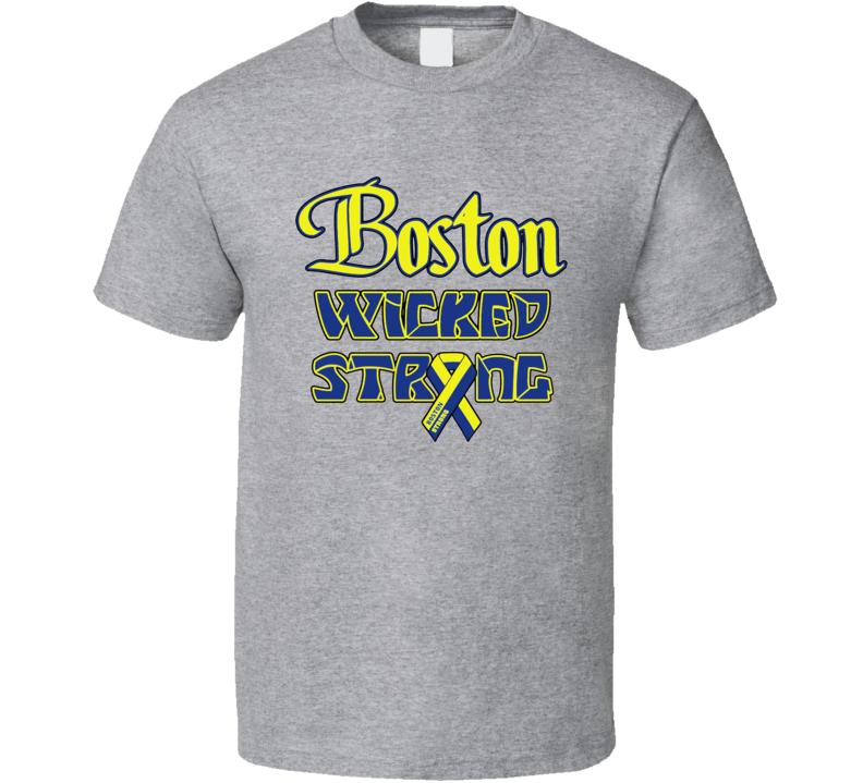 Boston Wicked Strong Marathon Tribute Charity T Shirt