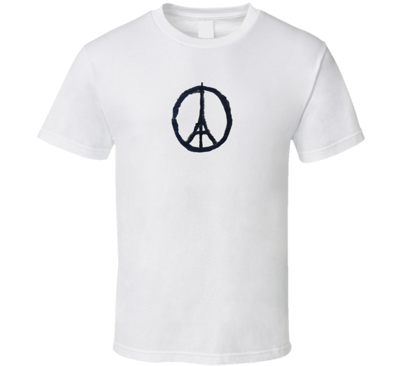 Paris Peace symbol Eiffel Tower Solidarity France Memorial Terror Attack Memorial T Shirt