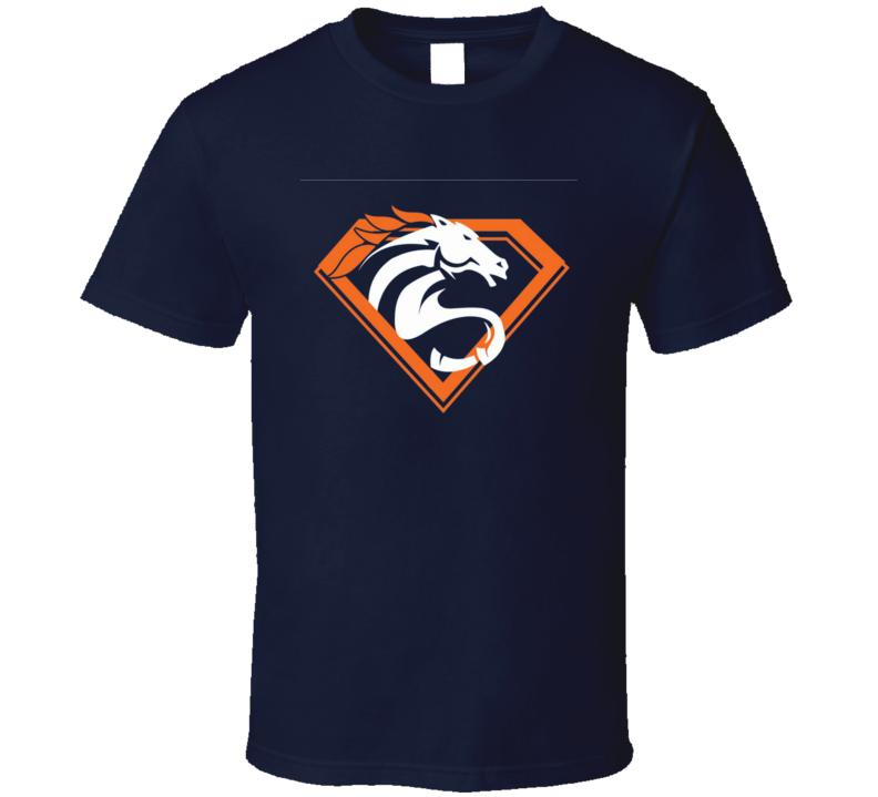 Denver Superman Bronco Logo Hybrid Manning MVP Superbowl Football T Shirt