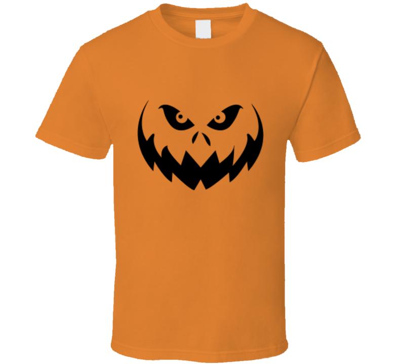 Halloween Pumpkin Face 1 Scary Spooky Jack O Lantern T Shirt