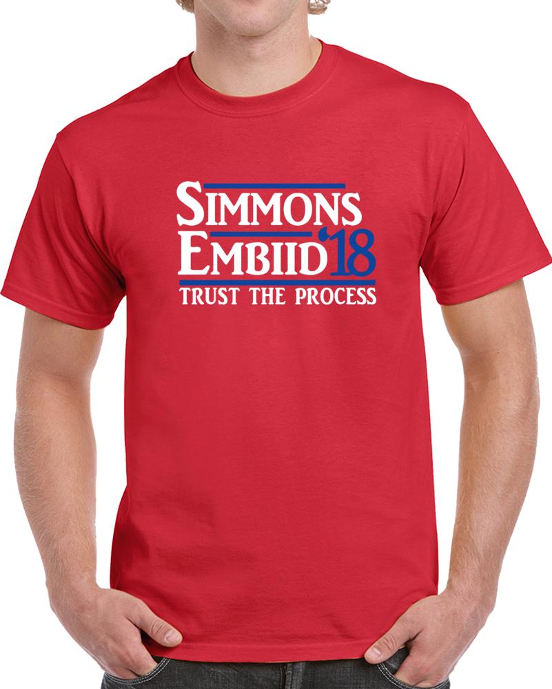 "Philadelphia Basketball Joel Embiid Ben Simmons ""trust The Process 18"" T-shirt"