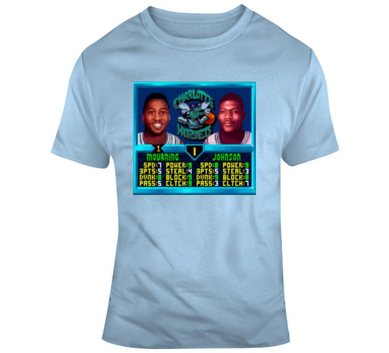 Alonzo Mourning Larry Johnson Charlotte Retro Video Game Basketball T Shirt
