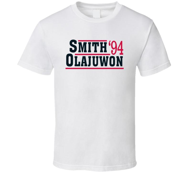 Hakeem Olajuwan Kenny Smith 1994 Houston Campaign Basketball T Shirt