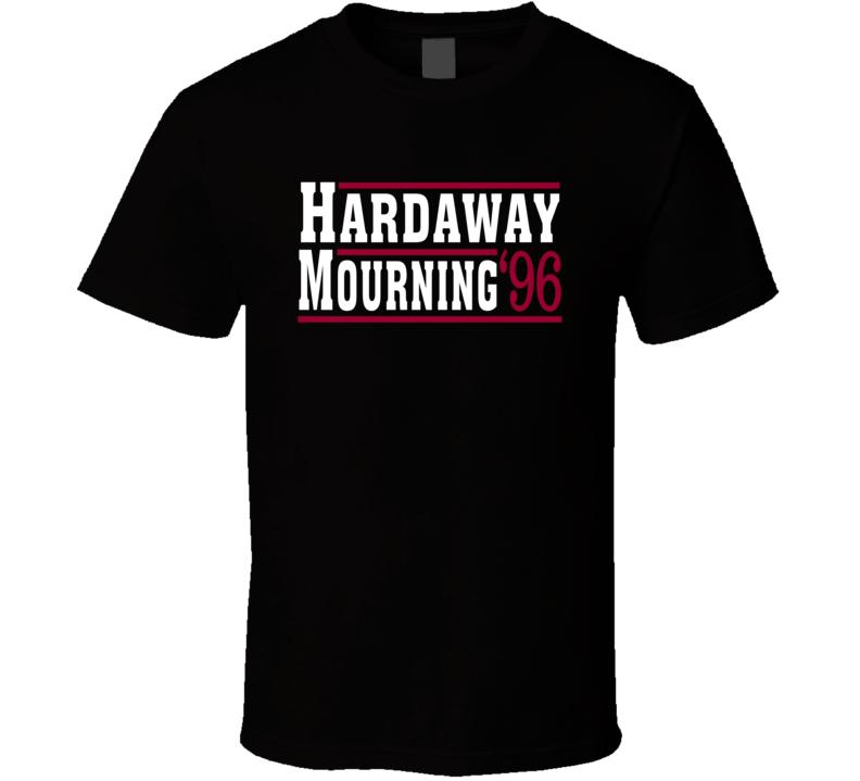 Alonzo Mourning Tim Hardaway 1996 Miami Campaign Basketball T Shirt