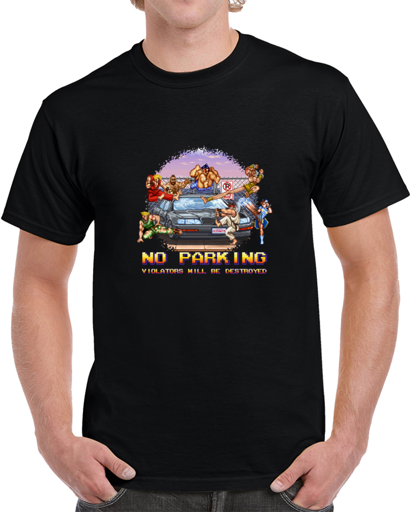 No Parking Street Fighter Bonus Stage  Classic Arcade Video Game T Shirt