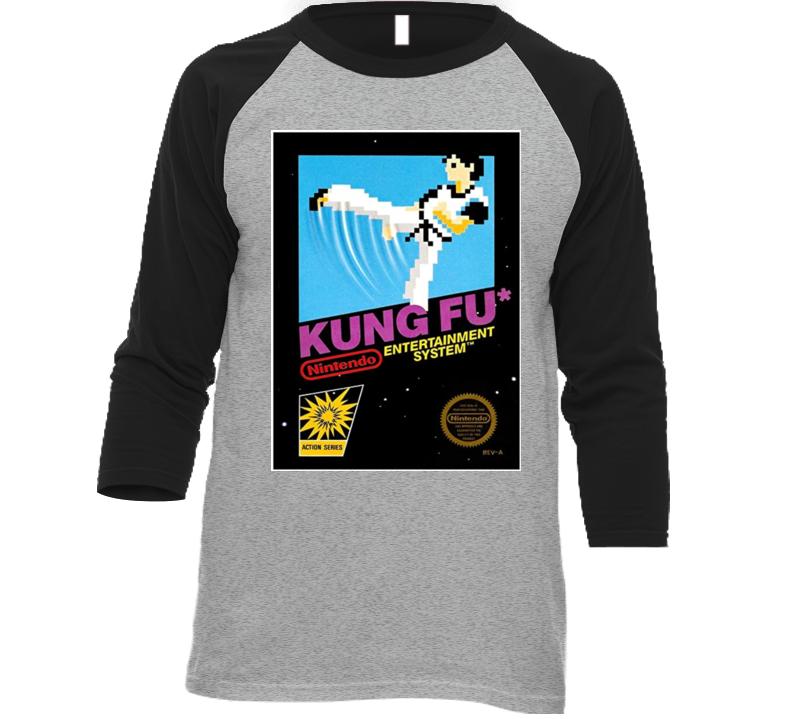 Kung Fu Nes Retro Video Game Raglan T Shirt